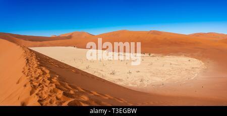 Deadvlei Sossusvlei, est un sel et de l'argile pan entouré de hautes dunes rouges, situé dans le désert du Namib, dans le Namib-Naukluft National Park, la Namibie. Banque D'Images