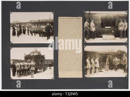 Premier Lieutenant Max Immelmann (1890 - 1916), une documentation complète sur son accident et les funérailles du héros en juin 1916 12 photos (en partie double) de son avion wreck et 17 grandes photos de l'arrivée de son cercueil de Douai à Dresde, mère et sa soeur à la gare, le cortège funèbre à Dresde, le crématoire municipal, Immelmann en chapelle ardente à l'Tolkewitz culumbarium. Aussi plusieurs coupures, partiellement la nouvelle de son accident, traitant en partie avec sa mort en général et partiellement obituaries et rapports bof, No-Exclusive Editorial-Use-Utilisation | seule Banque D'Images