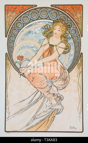 Peinture (à partir de la série des Arts), 1898. Créateur: Alfons Mucha, Marie (1860-1939). Banque D'Images