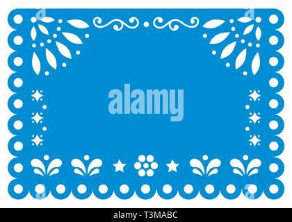 Papel Picado vector template design en bleu avec aucun texte, papier mexicain décoration avec des fleurs et des formes géométriques - carte de voeux ou d'invitation Banque D'Images