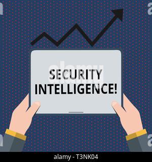 La main conceptuel montrant le renseignement de sécurité. Signification du concept de protéger un organisme contre les menaces et risques main tenant comprimé sous la