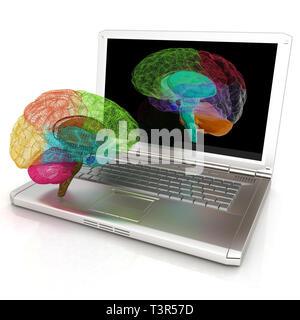 Modèle à trois dimensions de la création d'un cerveau humain et l'acquisition sur un ordinateur portable numérique. 3D render Banque D'Images