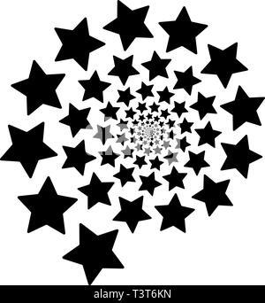 Spirale d'étoiles isolé sur un fond carré blanc. L'élément de conception. Banque D'Images