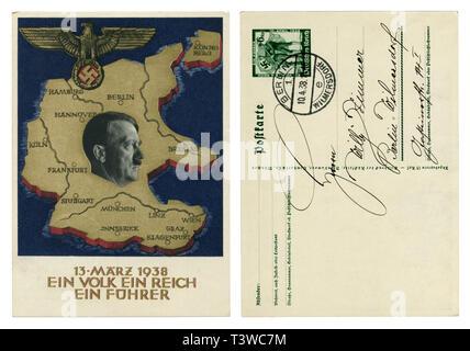 Carte postale historique allemand: un plébiscite sur la question de l'annexion de l'Autriche, 1938, face arrière, l'écriture avec boucles, l'Allemagne, Troisième Reich