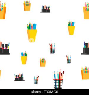 Modèle sans couture papeterie vecteur. L'école, l'icône du bureau d'affaires. Stylo, crayon. Jolie Texture graphique. Toile textile. Cartoon Colorful Background Banque D'Images