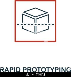 Le Prototypage Rapide icône dans deux couleur design. Éléments de style rouge et noir de l'apprentissage machine collection d'icônes. Prototypage rapide de création icône. Pour