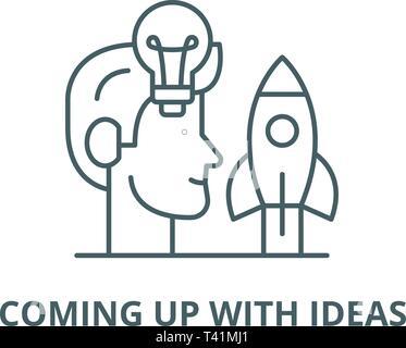 Trouver de nouvelles idées, l'icône de la ligne de vecteur. Trouver de nouvelles idées contours signe, symbole, télévision illustration Banque D'Images