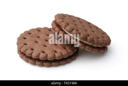 Sandwich au chocolat biscuits isolated on white Banque D'Images