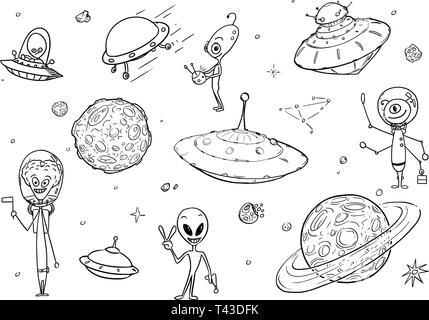 Ensemble de dessins dessins vectoriels de friendly cartoon caractères exotiques, des vaisseaux spatiaux et des planètes d'OVNIS. Banque D'Images