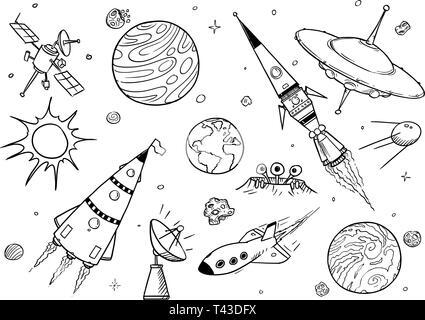 Ensemble de dessins dessins vectoriels de l'espace accessoires comme des fusées, des vaisseaux spatiaux extraterrestres ou des vaisseaux spatiaux, OVNI, Planètes et satellites. Banque D'Images