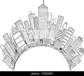 De dessin vectoriel des tours d'immeubles modernes couvrant la moitié de monde ou d'un cercle comme représentation de la civilisation mondiale ou de l'entreprise. Concept de secteur financier et l'économie mondiale. Banque D'Images