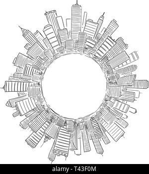 De dessin vectoriel des tours d'immeubles modernes couvrant globe ou cercle comme représentation de la civilisation mondiale ou de l'entreprise. Concept de secteur financier et l'économie mondiale. Banque D'Images