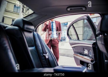 Riche businessman standing pour ouvrir la porte car tout en parlant sur mobile Banque D'Images