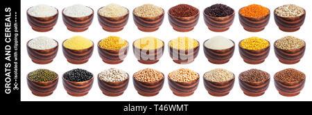 Différentes céréales, grains et flocons isolé sur fond blanc avec clipping path Banque D'Images
