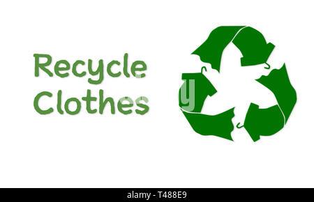 Vêtements faits avec symbole recyclage t shirt robe sur cintre à recycler, réutiliser texte texture tissu, concept illustration, recycler texte vêtements Banque D'Images