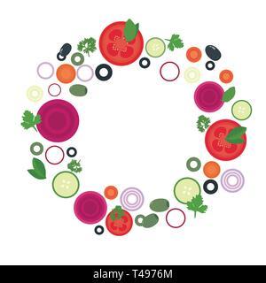 Modèle plat illustration de tomate, betterave et tranches de concombre avec olives et légumes différents en cercle, avec un espace réservé au texte - vector Banque D'Images