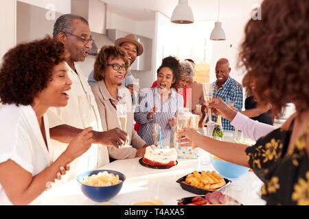 Femme noire soufflant la bougie sur le gâteau d'anniversaire au cours d'une célébration avec sa famille Banque D'Images