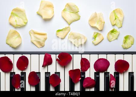 Touches de piano rouge et blanc avec des pétales de rose, isolée, vue du dessus, copiez l'espace. Concept romantique. Piano ou clavier synthétiseur. Musique classique ins