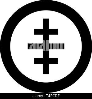 L'icône de l'église romaine papale Croix en cercle de couleur noire style télévision illustration vectorielle simple image