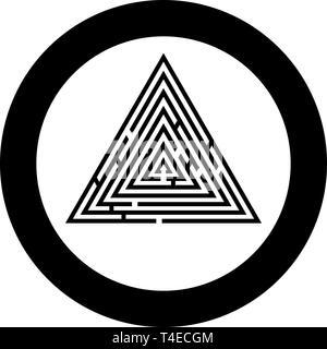 Labyrinthe Labyrinthe Labyrinthe triangulaire énigme énigme dans l'icône ronde cercle couleur noir style télévision illustration vectorielle simple image Banque D'Images
