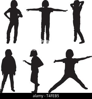 Peu ou adolescentes, silhouettes vector illustration Banque D'Images
