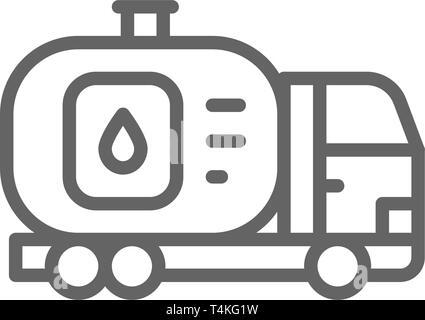 Camion, voiture avec réservoir d'huile, le transfert d'eau, l'icône de la ligne de transport. Banque D'Images