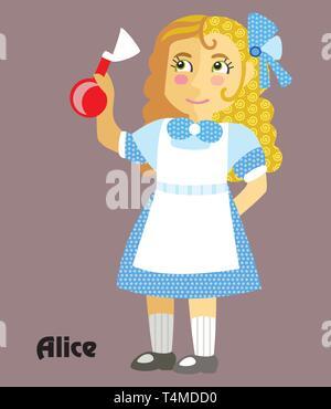 Grandes lignes décoratives colorées portrait de jeune fille en robe bleue avec potion dans sa main. Alice au Pays des Merveilles ,télévision cartoon vector illustration dans différents Banque D'Images