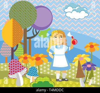 Image vectorielle décoratives colorées fille en robe bleue debout dans la forêt. Alice au Pays des merveilles - Personnage, vector cartoon illustration en télévision Banque D'Images