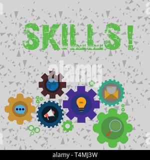 L'écriture de texte Word Compétences. Photo d'affaires mettant en capacité de faire quelque chose par nature très bien ensemble d'icônes de réseaux sociaux en ligne globale de couleur à l'intérieur Banque D'Images