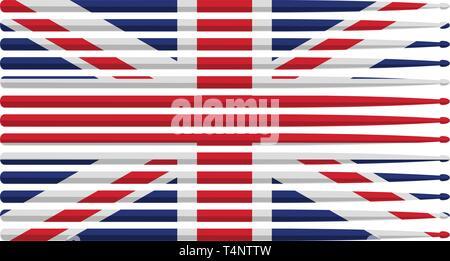 Royaume-uni le batteur drum stick avec un drapeau rouge, blanc et bleu de baguettes de tambour rayé illustration vectorielles Banque D'Images
