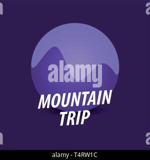 Voyage Montagne Ronde, logotype vectoriel en violet