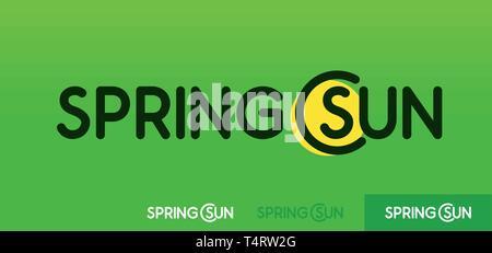Soleil de Printemps, Vector logo emblème sur fond vert avec des modèles de logos en différentes couleurs. Banque D'Images