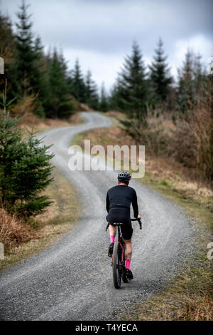 Un homme cyclotourisme le long d'une piste de gravier à Grizedale Forest dans le Lake District, en Angleterre, gravier, vélo de cyclotourisme.
