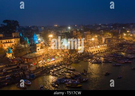L'Inde, Uttar Pradesh, Varanasi, fleuve Gange Ghats et historique Banque D'Images