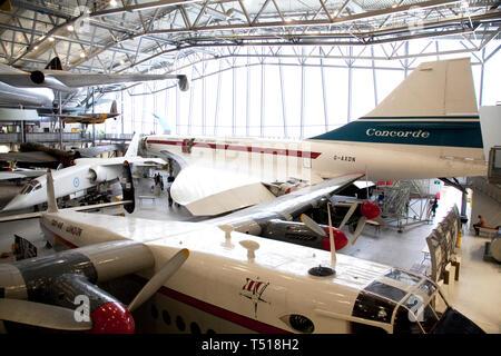 La concorde, au Musée de l'air américaine à Duxford Imperial War Museum,Cambridgeshire, Angleterre. Banque D'Images