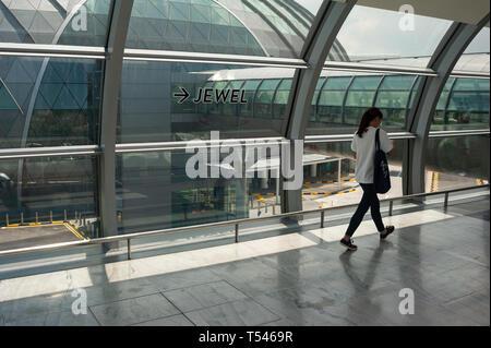 18.04.2019, Singapour, République de Singapour, en Asie - l'un des deux ponts de liaison pour le nouveau terminal de bijoux à l'aéroport de Changi. Banque D'Images