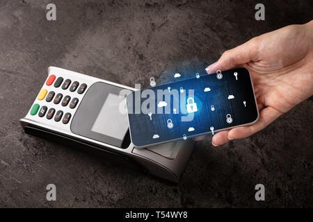 Part de payer par téléphone portable en POS, concept paiement sécurisé