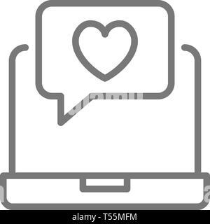 Ordinateur portable avec coeur, amour bulle chat, comme message, l'icône de la ligne de commentaires positifs.