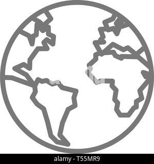 La Terre, planète, planète icône ligne. Banque D'Images