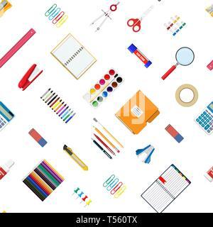 Motif transparent/jeu. Ordinateur portable, livre, règle, couteau, dossier, crayon, stylo, calculatrice, ciseaux, ruban peinture fournitures de bureau Bureau de l'école de fichier Banque D'Images