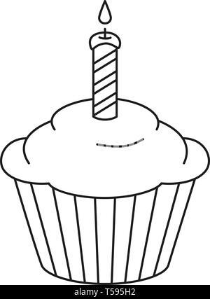 Gâteau Danniversaire Avec Une Bougie Sur Licône De La