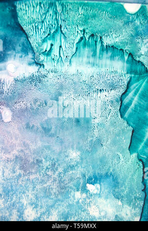 La texture aquarelle éclaboussures. Résumé d'origine, le papier, la pierre, la glace, l'espace, galaxie, la lumière cosmique les taches de couleur turquoise style blob