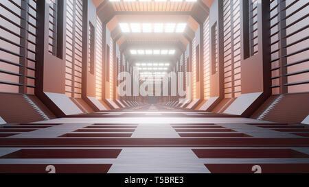 Le rendu 3d. L'architecture de fond futuriste corridor Science-fiction
