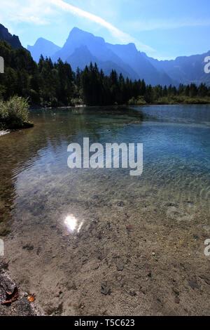 Vue panoramique de la faible profondeur de l'eau claire comme du cristal du Almsee, près de Grünau im Almtal, Oberösterreich, Autriche Banque D'Images