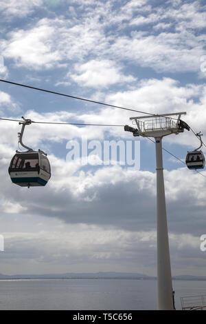 En voiture de câbles télécabine Parque das Nações - Lisbonne, Portugal Banque D'Images