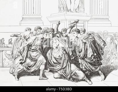 La mort de Jules César. Gaius Julius Caesar, homme politique romain, général, historien, 100 avant J.-C. - 44 AV. Banque D'Images