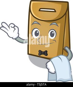 Garçon sac de papier dans la forme de dessin animé Banque D'Images