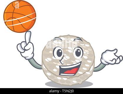 Basket-ball avec les galettes de riz dans un caractère jar Banque D'Images