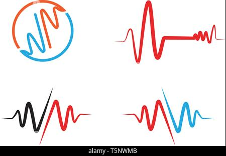 Logo Heart Beat ligne hôpital vector Banque D'Images