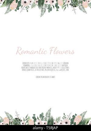 Jeu de carte avec fleur rose, feuilles. Parure de mariage concept. Poster floral décoratif, inviter. carte de vœux ou invitation définition Banque D'Images